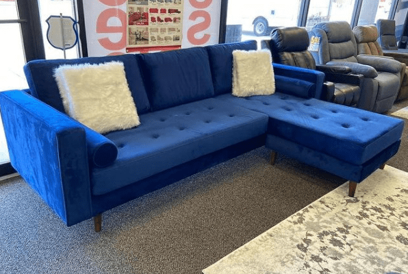 blue velvet reversible sectional mid century modern at ASY Furniture Houston Stafford same day delivery