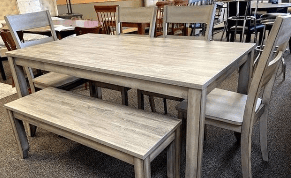 rustic wood 6 piece dining table set at ASY Furniture Houston Stafford same day delivery