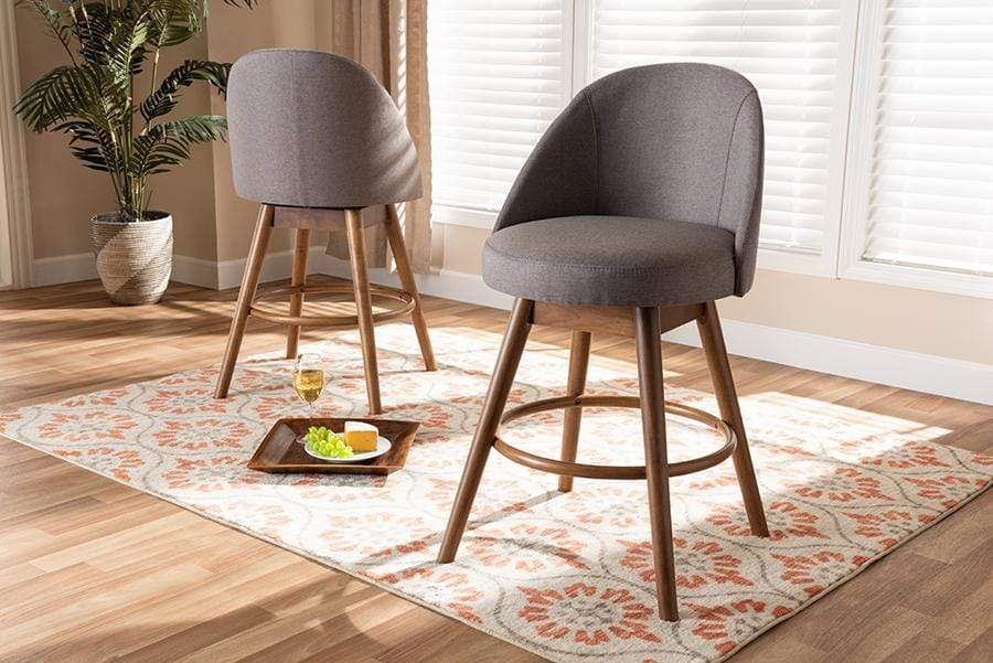 Baxton Studio Counter Stools Carra Mid-Century Modern Grey Fabric Upholstered Walnut-Finished Wood Swivel Counter Stool Set of 2