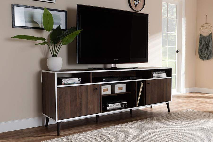 Baxton Studio TV Stands Marion Mid-Century Modern Brown and White Finished TV Stand