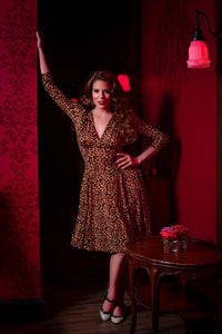 3/4 Sleeve Leopard Raquel dress *pre order* - Wax Poetic Clothing