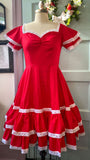 Adelaide dress in Cardinal Red poplin