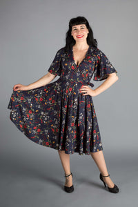 Aurora Dress in Edelweiss Print *pre order* - Wax Poetic Clothing