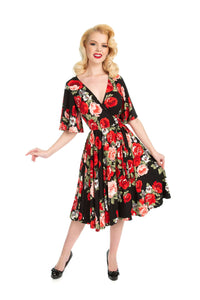 Aurora Dress in Red Rose print *pre order* - Wax Poetic Clothing