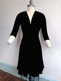 3/4 Sleeve Black Raquel dress *pre order* - Wax Poetic Clothing