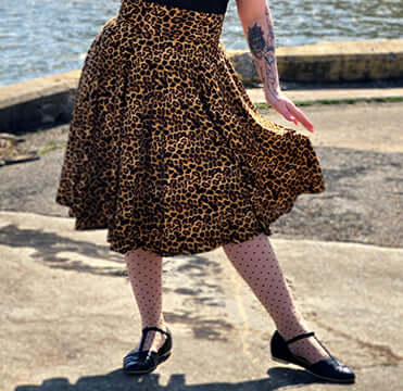 Ella skirt in Leopard Print - Wax Poetic Clothing