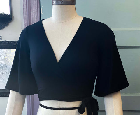*PRE ORDER* Aurora Wrap top in Solid Black knit
