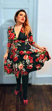 3/4 Sleeve Red Rose Raquel swing dress