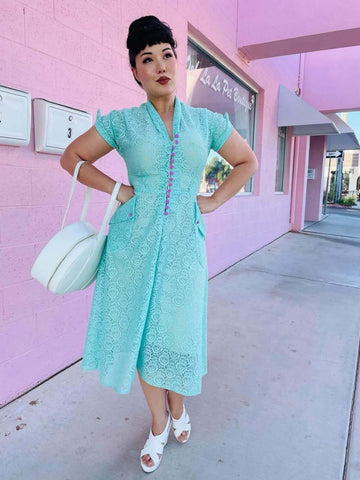 *PRE ORDER* Edith Dress in Mint Floral Lace