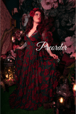 Lydia Dress in Red Rose Flocked Mesh WS