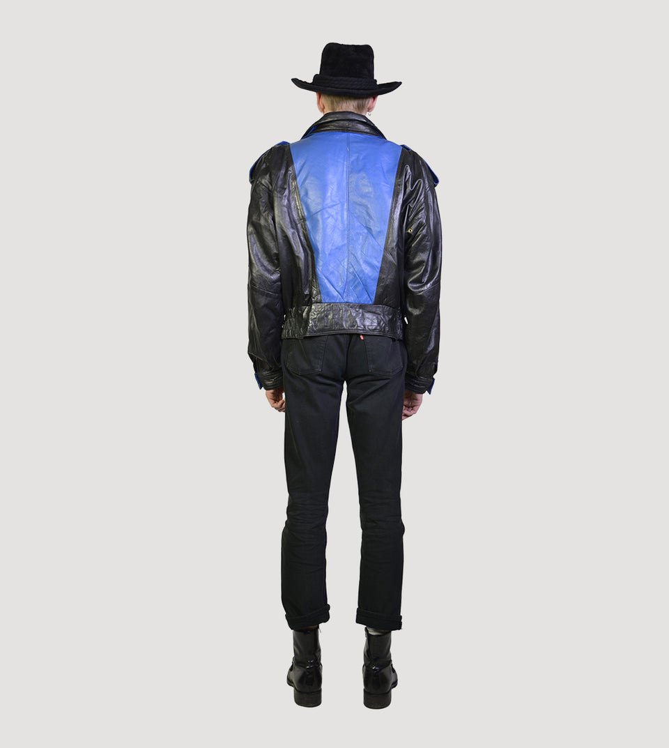 80s painted rockabilly leather jacket