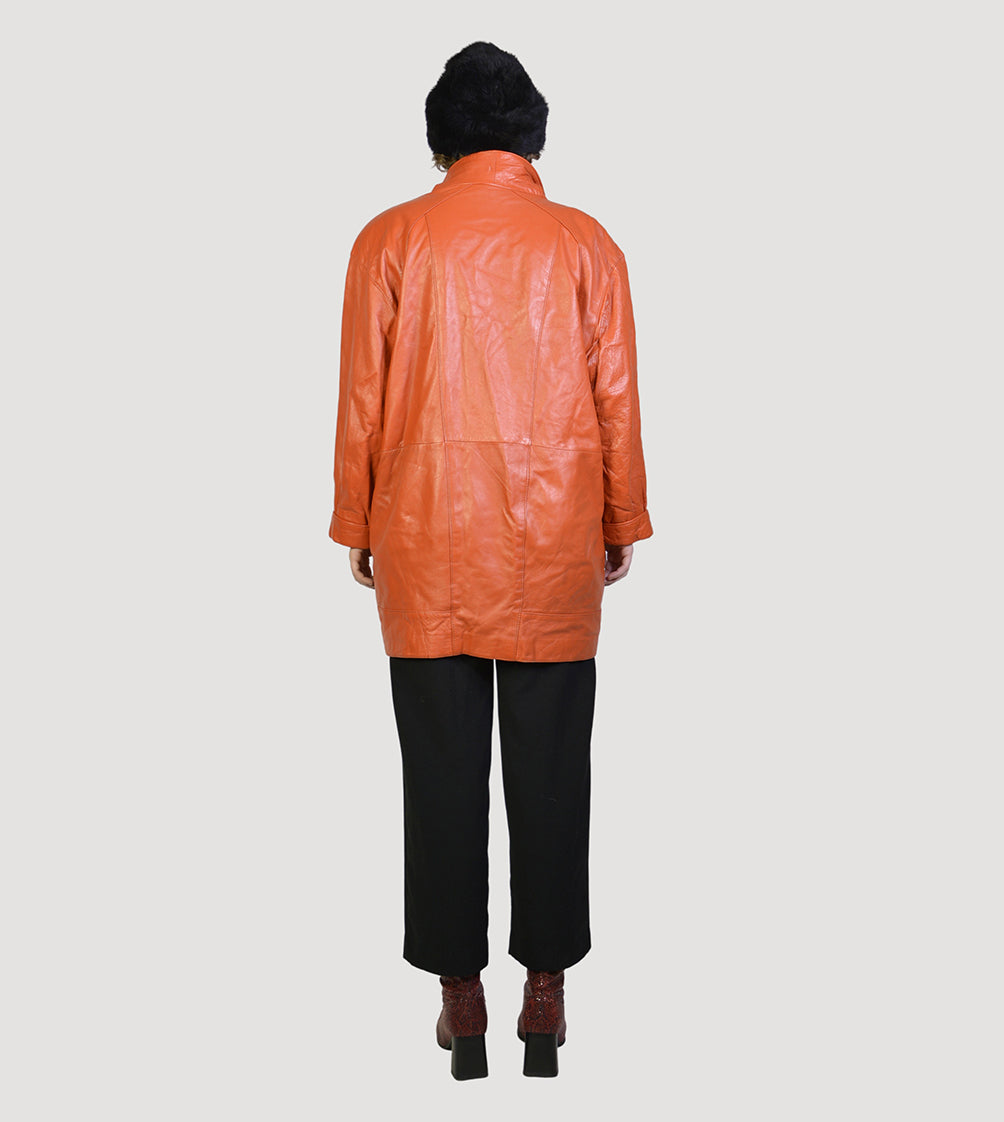 90s orange leathercoat - PICKNWEIGHT - VINTAGE KILO STORE