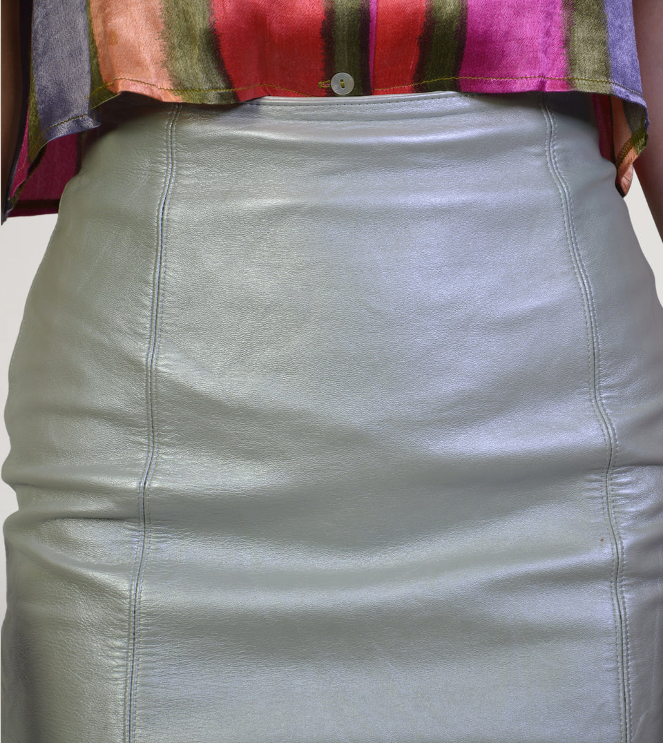 80s silver leather skirt