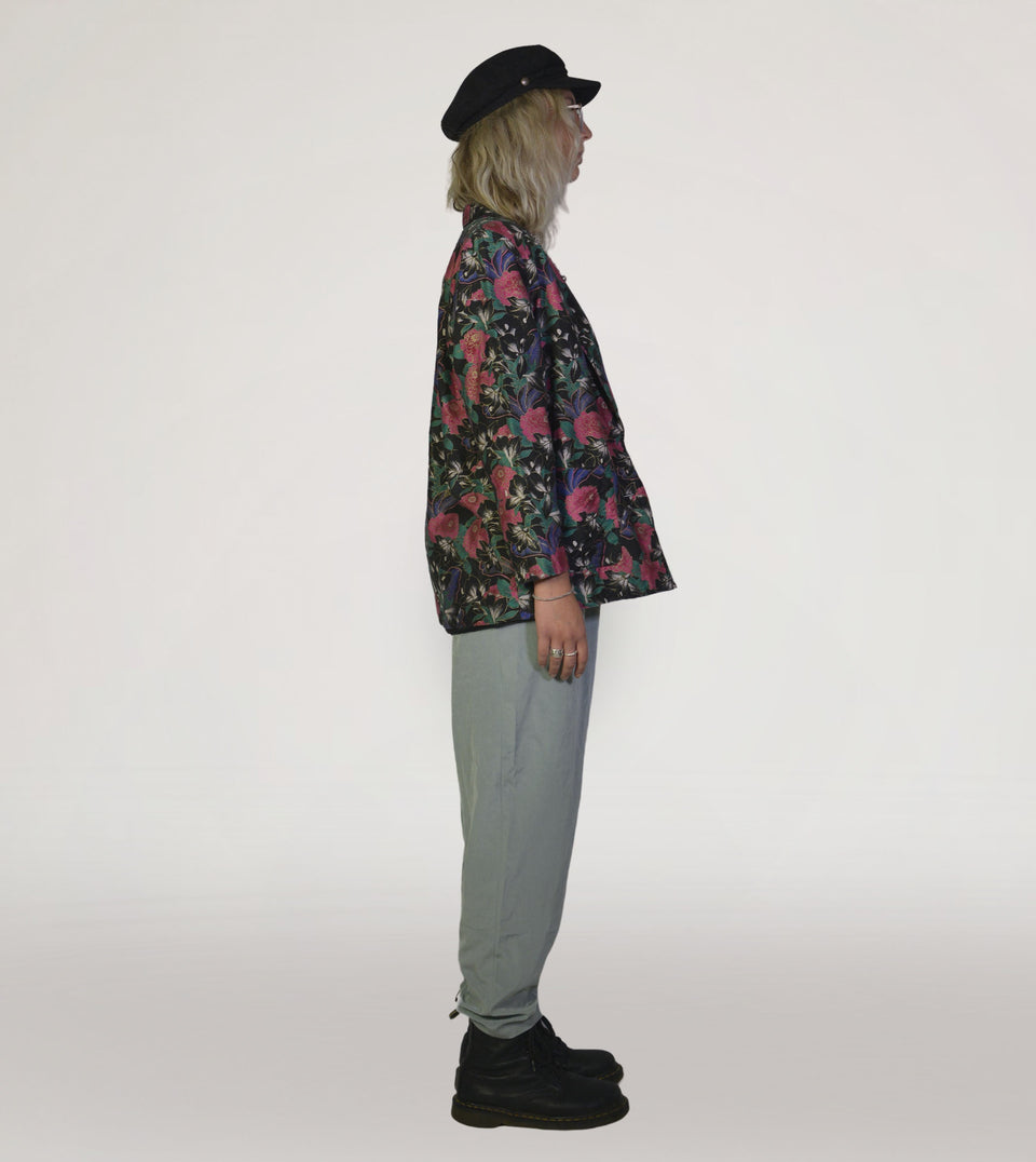 Flower silk suit jacket