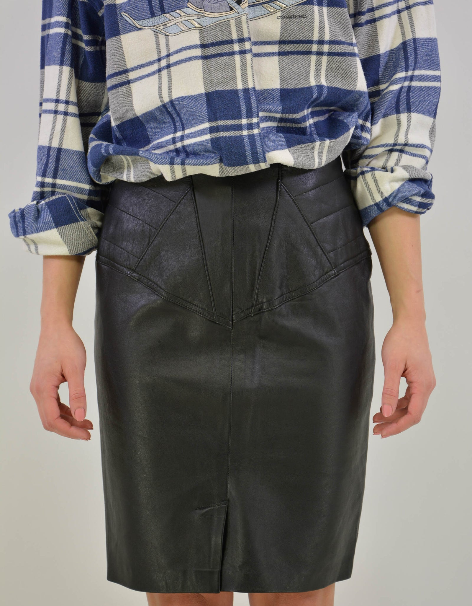 Black leather skirt - PICKNWEIGHT - VINTAGE KILO STORE