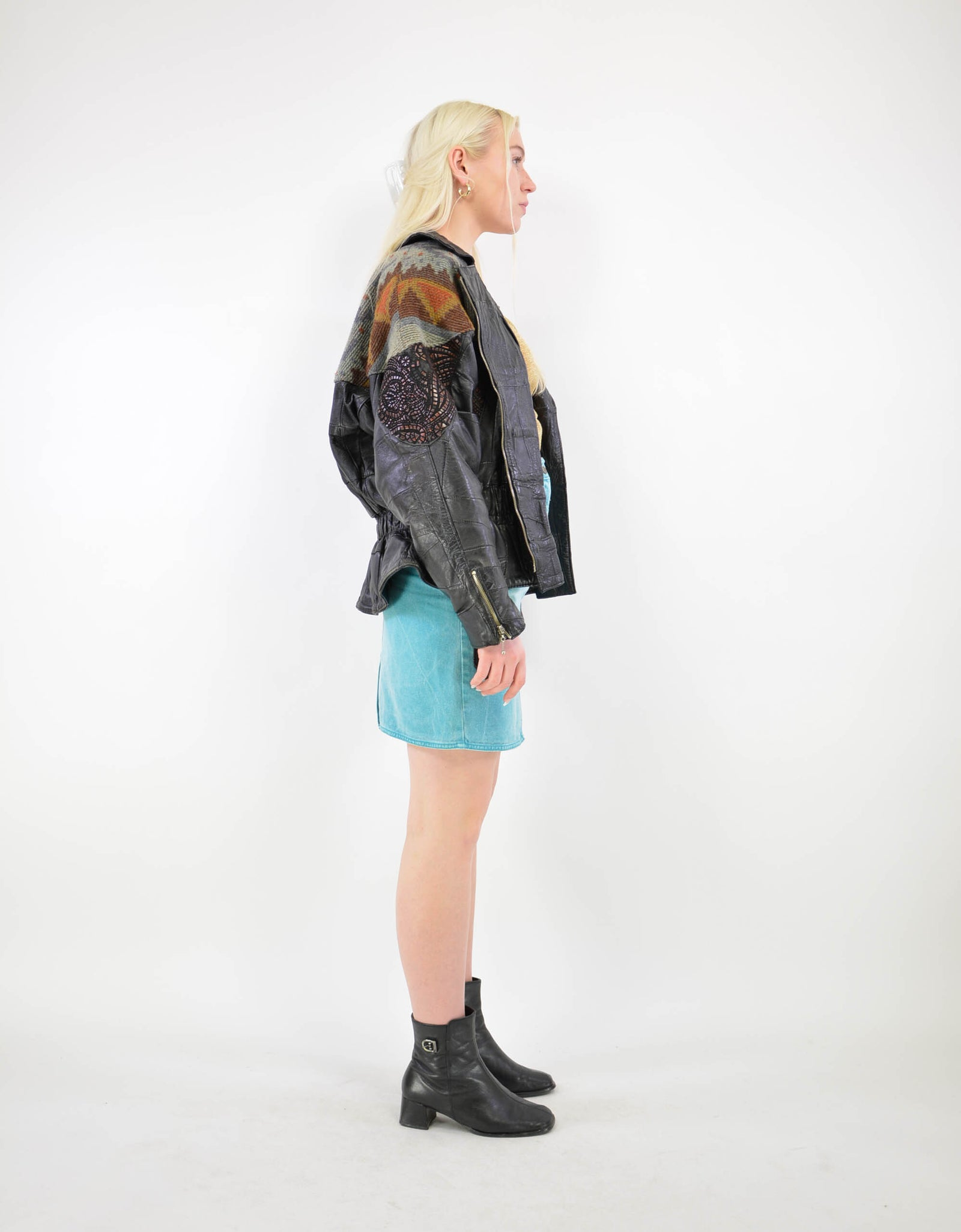Patchwork leather jacket - PICKNWEIGHT - VINTAGE KILO STORE