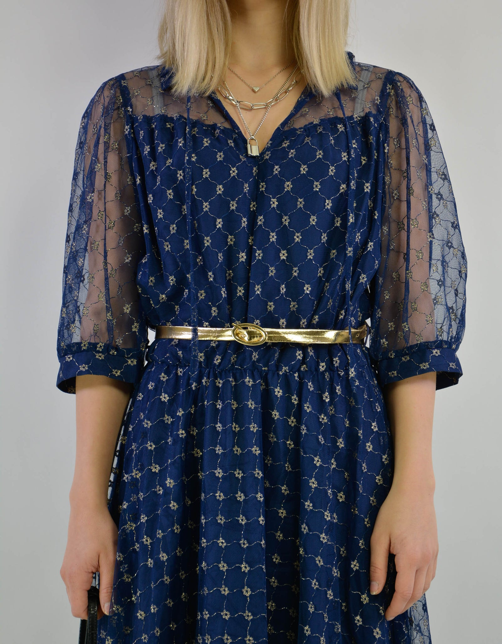 Blue metallic dress - PICKNWEIGHT - VINTAGE KILO STORE