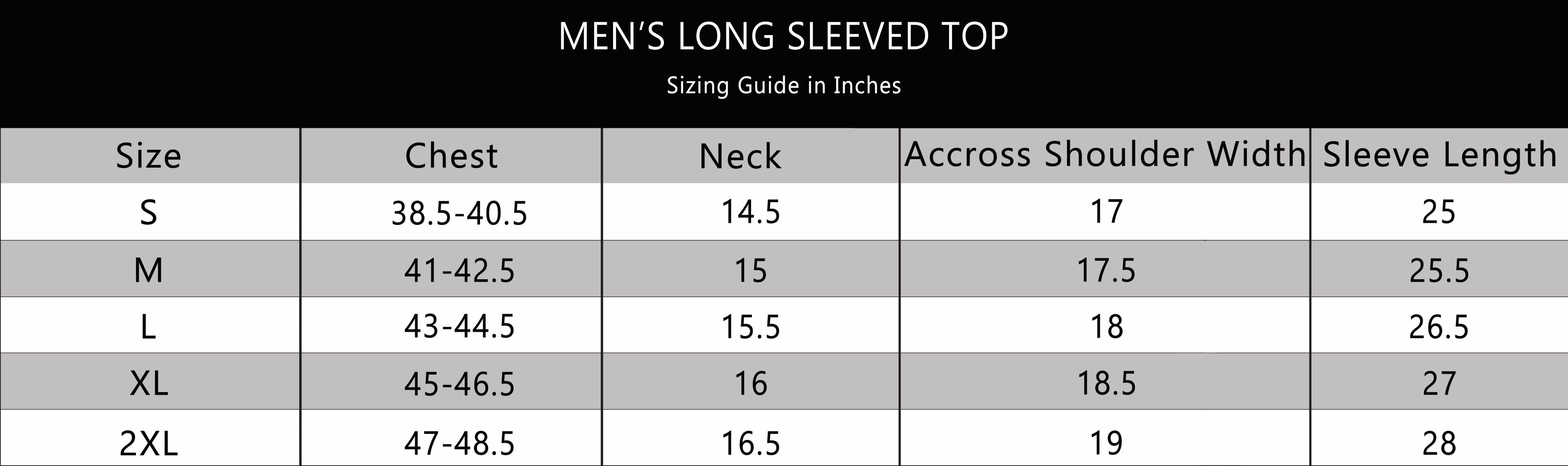 BOTTOMS OUT LONG SLEEVED TOPS SIZE CHART