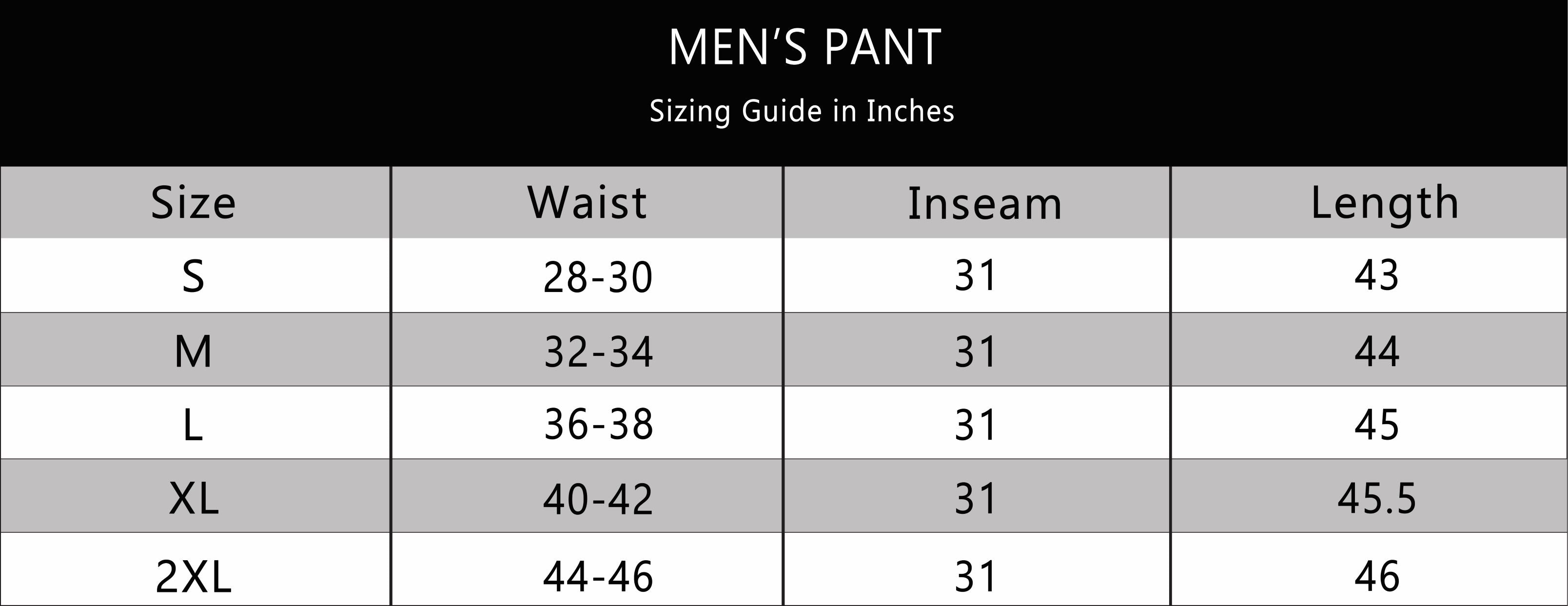 BOTTOMS OUT MENS PANT SIZE CHART