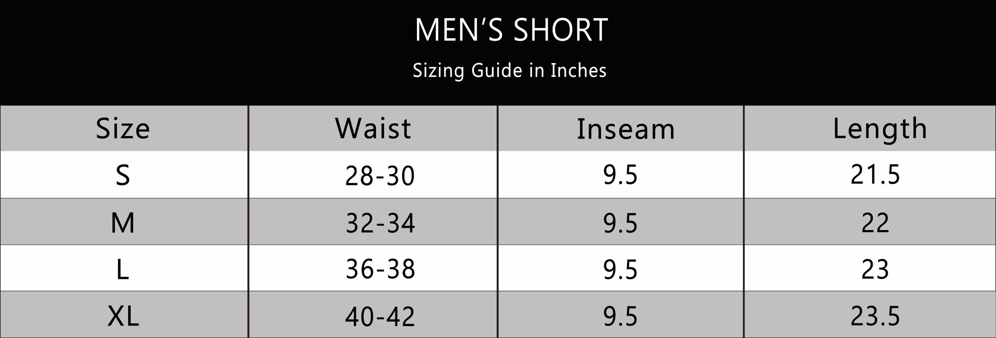 BOTTOMS OUT MENS SHORT SIZE CHART