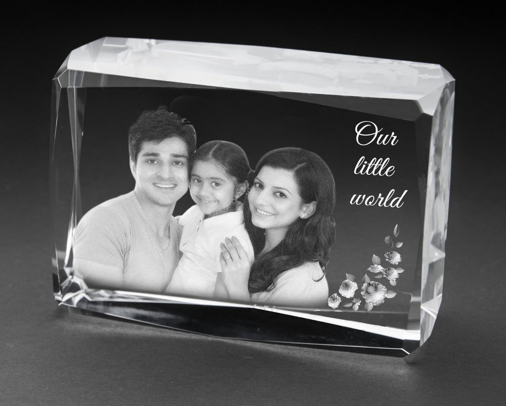 3D-Crystal Cube Personalised Gifts Anniversary 3D7410a