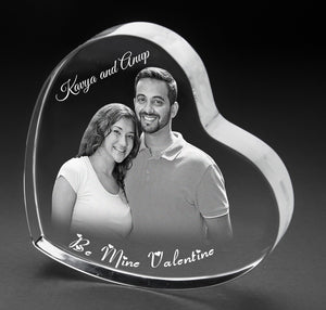 3D-Photo crystal heart Valentines HT112