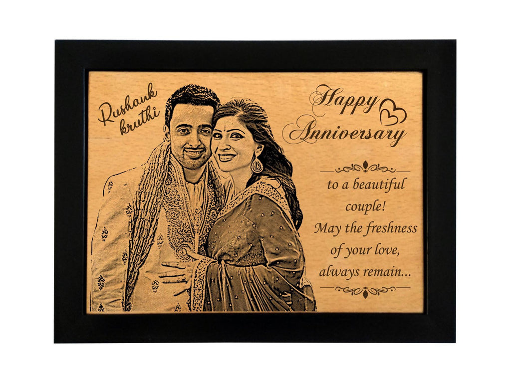 Laser engraved photos on wood Anniversary BWF 4x6 inch
