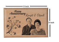 Laser engraved photos on wood Anniversary BWP 9x6 inch