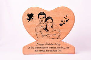Personalised Heart Shaped Photo Frame Valentines BWP HS