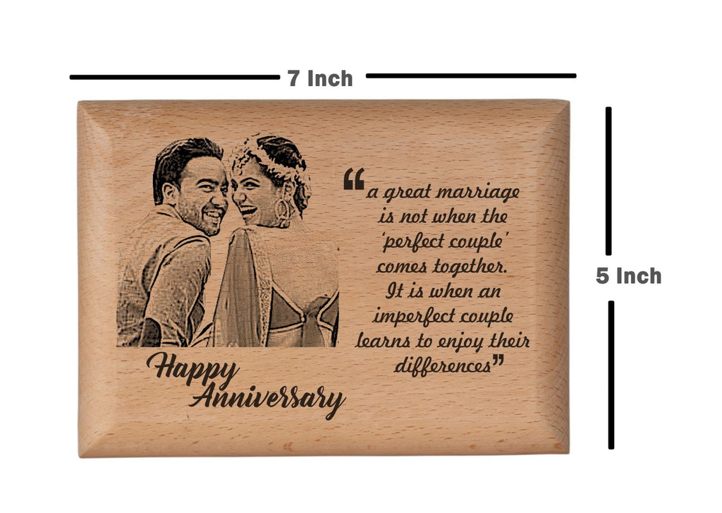 Personalised wooden photo frame Anniversary BWP 5x7 inch