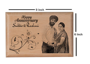 Personalised wooden photo frame Anniversary BWP 9x6 inch