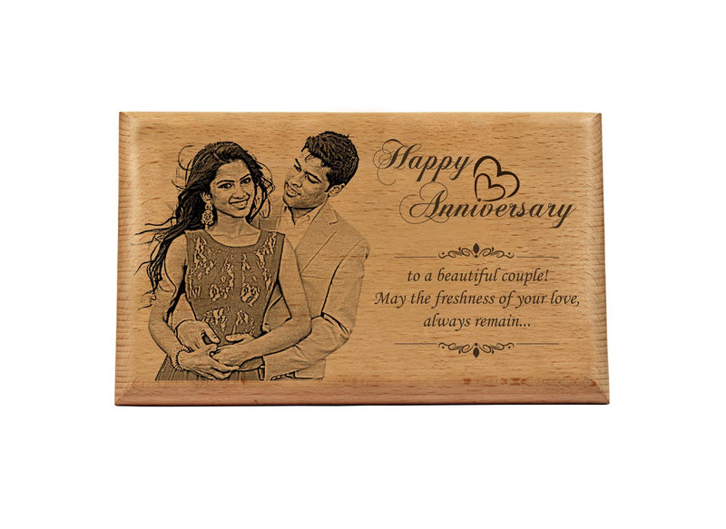 Photo engraving on wood Anniversary BWP 8x12 inch