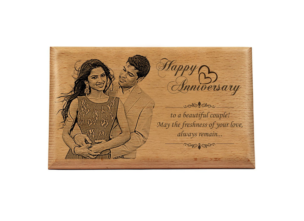 Photo engraving on wood Anniversary BWP 9x6 inch