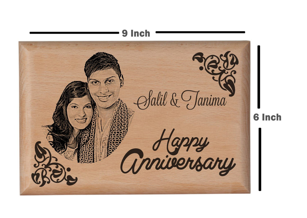 Wooden engraved gifts Anniversary BWP 9x6 inch