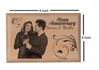 Wooden engraved photo Anniversary BWP 9x6 inch