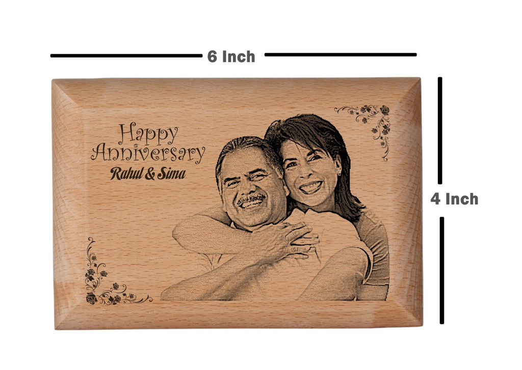 Wooden engraved photo frame Anniversary BWP 4x6 inch