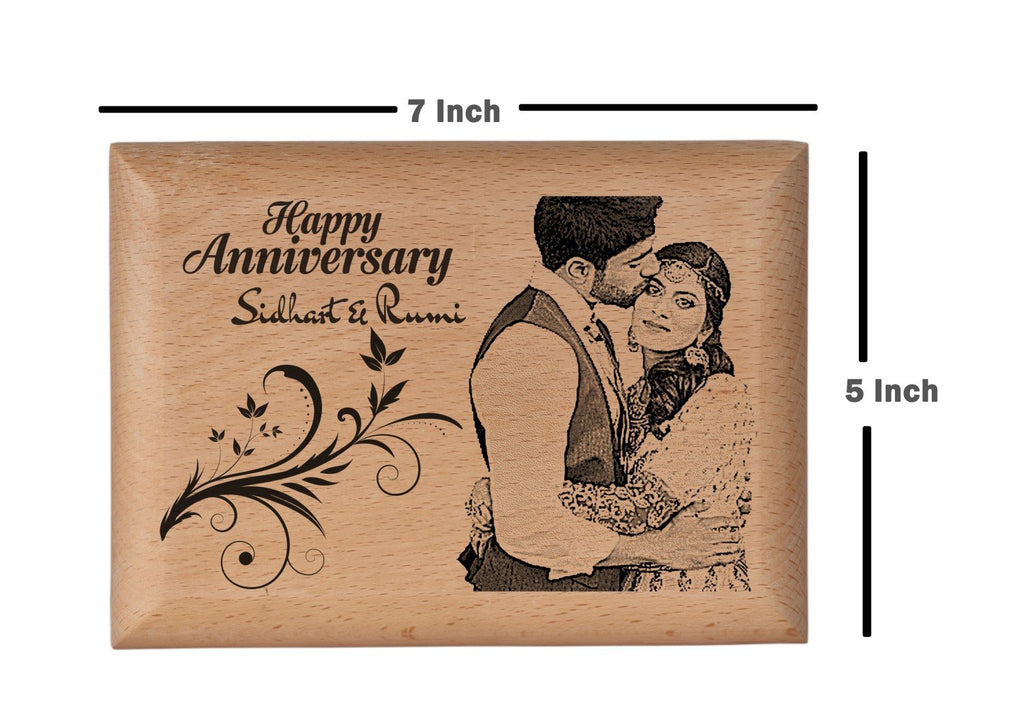 Wooden engraved photo frame Anniversary BWP 5x7 inch