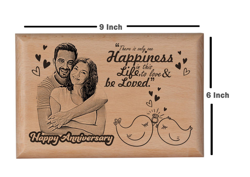 Wooden engraved photo frame Anniversary BWP 9x6 inch
