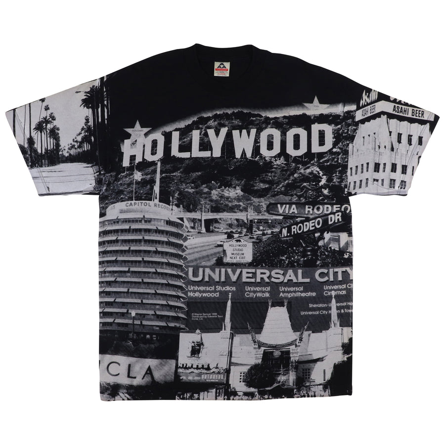 1996 Hollywood California All Over Print T-Shirt XL