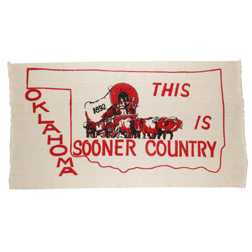 1980s Oklahoma Sooner 'This Is Sooner Country' Woven Rug