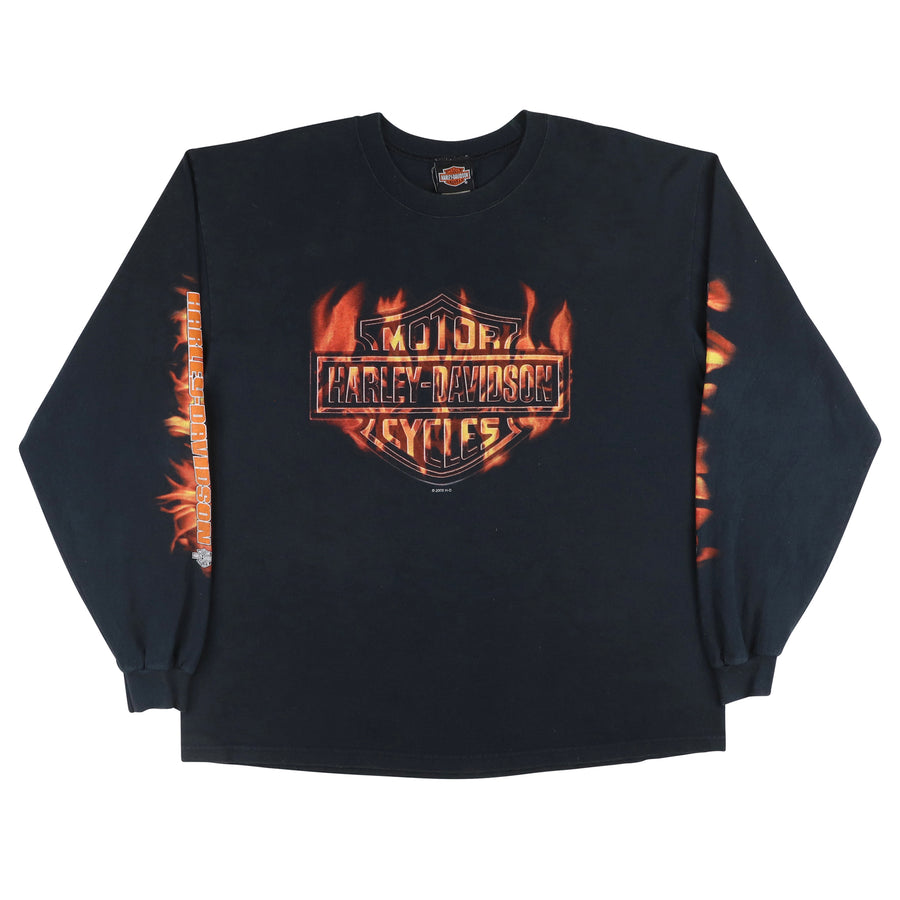 2000 Harley Davidson Flaming Shield Crest Long Sleeve Shirt XL