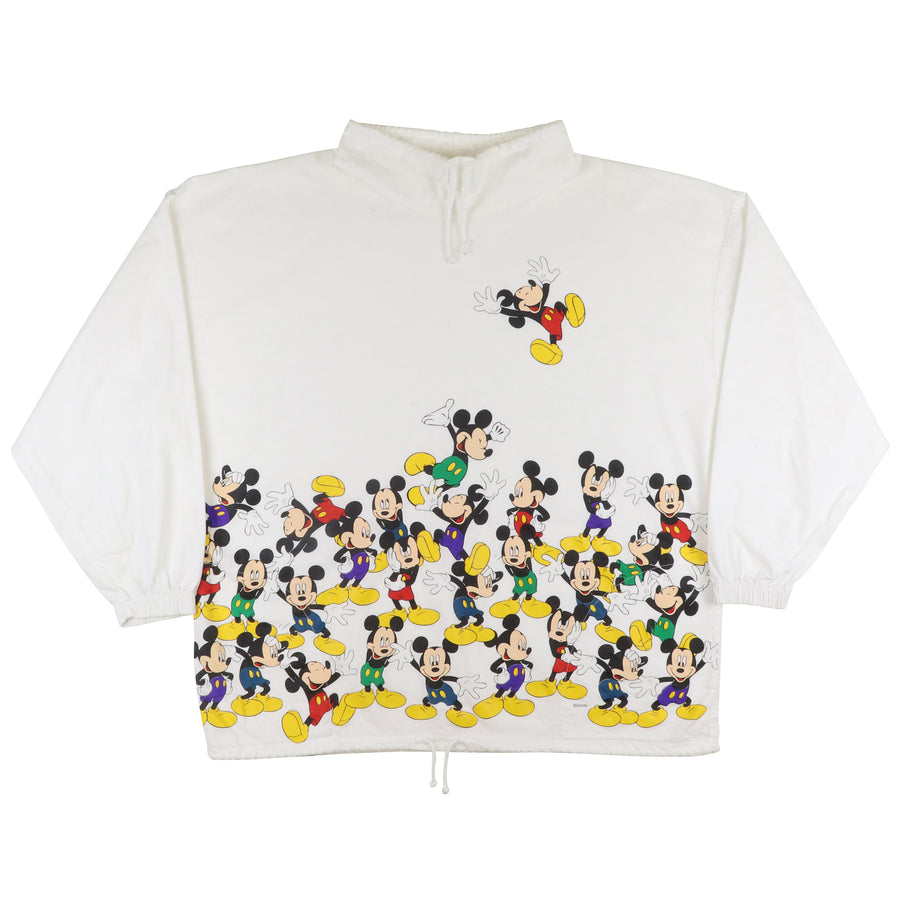 1990s Mickey Mouse Funnel Neck Cotton Sweatshirt 2XL