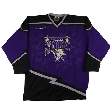 2001-2002 Team Issued Tri City Storm USHL Team Signed Jersey 2XL