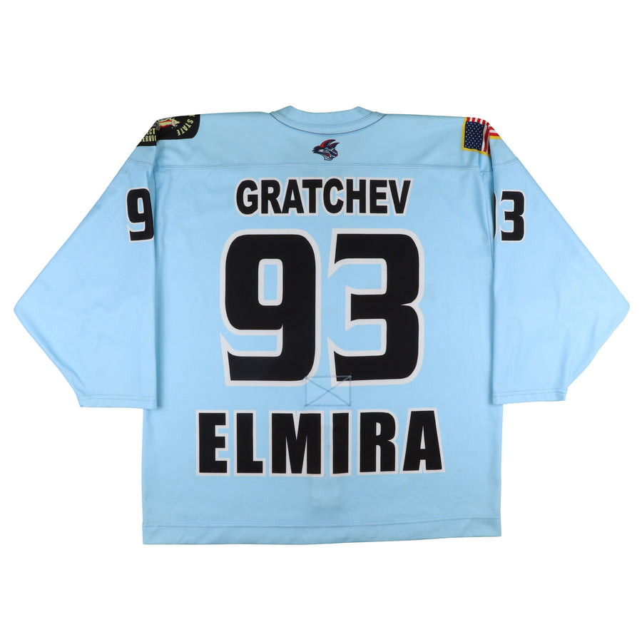 2009-2010 Game Used Elmira Jackals Maxime Gratchev NY Correctional Services Jersey 56