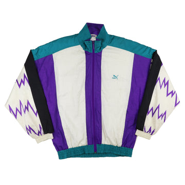1990s Puma Tennis Wear Zig Zag Sleeve Track Jacket M