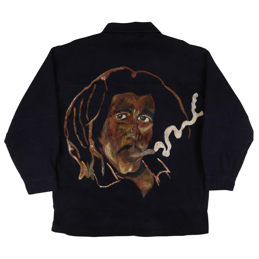 1990s Bob Marley Legend Custom Painted Pullover Lace Up Denim Shirt L