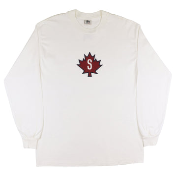 1990s Stussy Maple Leaf 'S' Long Sleeve Shirt L