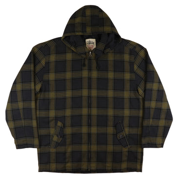 1990s Stussy 'Burly Gear' Plaid Zip Front Hooded Jacket L