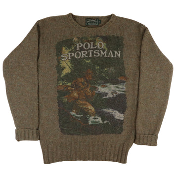 1990s Polo Country Sportsman Front Page Fishing Knit Sweater M