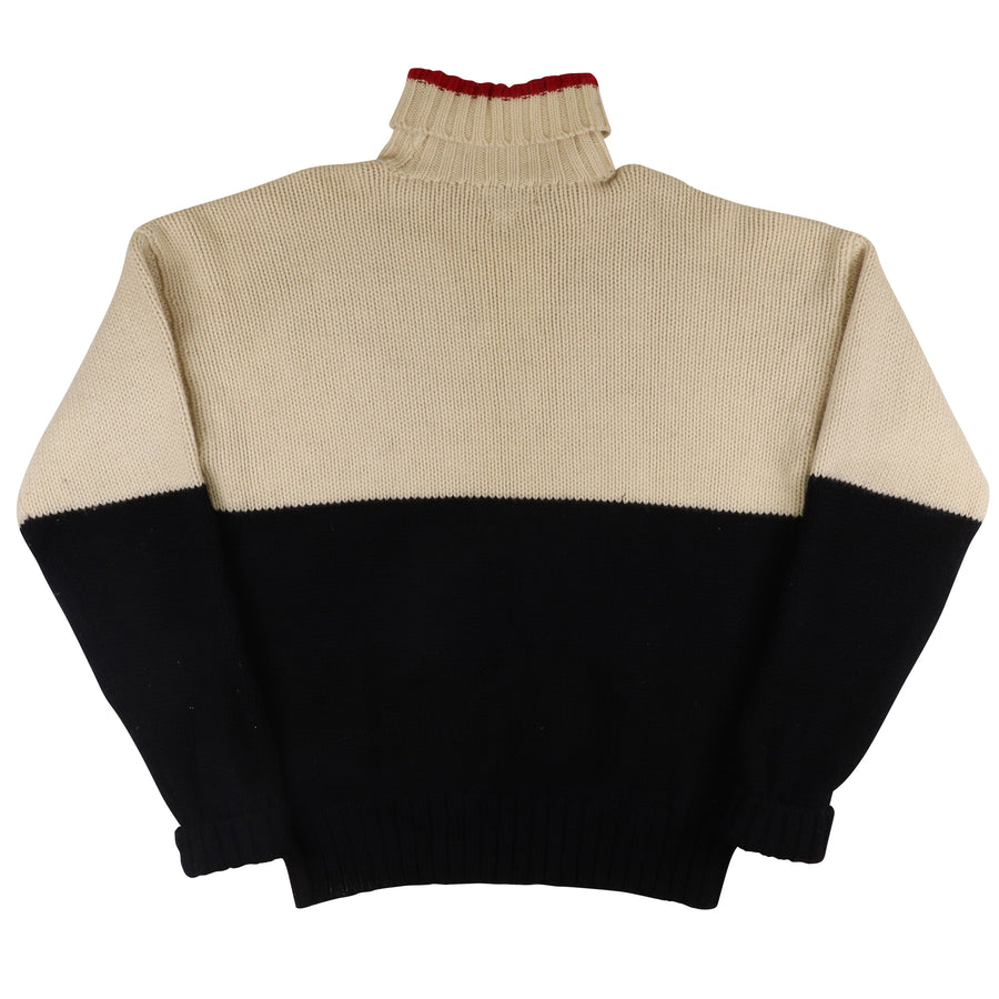 1990s Polo Ralph Lauren Cookie Patch Turtleneck Knit Sweater L